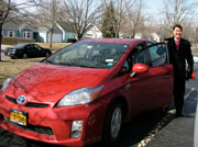 About to set off in my red Prius.