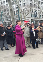 Speaking to the public outside St. Paul's Cathedral in Buffalo on a recent dreary day.