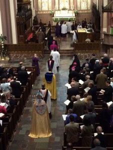 Bishop Franklin wearing Bishop Brent's mitre and cope during the Evensong to welcome the participants in the Anglican-Orthodox Dialogue in September 2015
